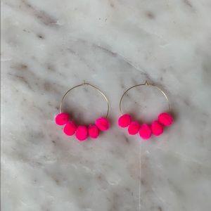 NWT Handmade Pink Pom Pom Gold Hoop Earrings